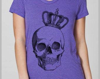 Punk Royal Skull Crown Women's Tshirt  American Apparel  T Shirt S, M, L, XL 8 Colors Vintage tee