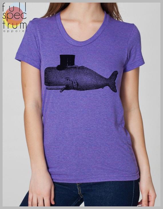 Women's Whale Tophat T Shirt  American Apparel  S, M, L, XL  8 Colors
