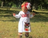 Christmas Dress, Personalized Dress with Reindeer Appliqué, Long Sleeved 3-6m to 8yrs, Chevron lettering
