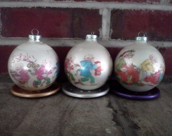 Vintage Santa and Elves Glass Corning Ornaments Set of 6