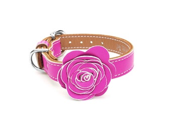 The Flower Child Purple Rain Leather Dog Collar