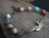 Swallow Antique Bronze Bracelet - Picture Jasper Beads and Swarovksi Crystal Bracelet