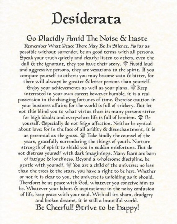 picture relating to The Desiderata Poem Printable referred to as Desiderata Poem 11 X 14 Poster Upon Great Parchment Paper