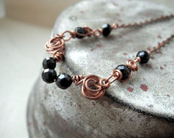Black Onyx necklace, copper wire wrapped necklace, gothic victorian jewelry for her