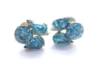 Coro Blue Rhinestone Bridal Earrings Retro Wedding Party Jewelry