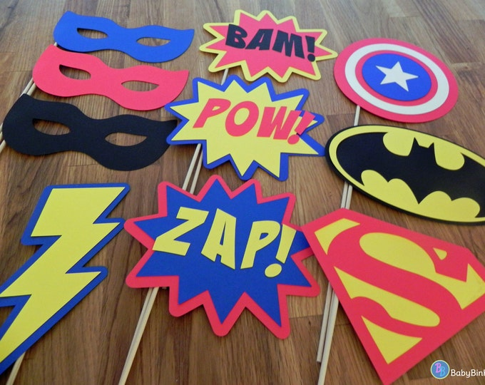 Photo Props: The Super Hero Set (10 Pieces) - party wedding birthday engagement die cut superhero pow superman america batman centerpiece