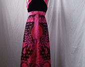 1960s Psychedelic Neon Empire Dress XS