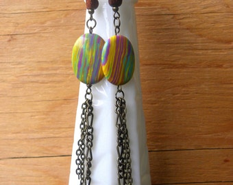 Psychedelic Rainbow Earrings - Antique Brass Chain Long Dangle Earrings - Funky Unique Jewelry - Long Earrings - Gifts for Her Under 20