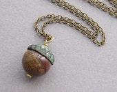 Acorn necklace, natural gemstone choice, custom jewelry, rustic woodland