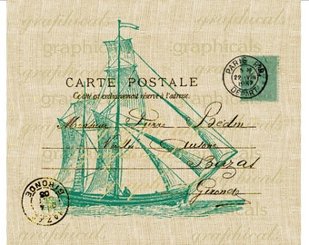 Teal ocean sailing ship French nautical decor instant Digital download image transfer for iron on fabric clip art burlap decoupage  No. 1874