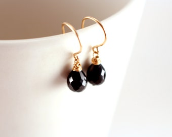 Dainty Black Spinel Earrings, Black Gemstone Earrings, Faceted Black and Gold Earrings, Dangling Gold Earrings, Teardrop Gemstone Earrings