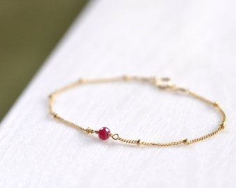 GoldFilled/Silver: Dainty Ruby Gold Bracelet, Red Ruby Solitaire Bracelet, Delicate and feminine, Minimum Jewelry, Gold Ruby Bracelet