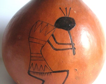 Vintage Decorative Gourd by D.R. Nance, Kokopelli Flute Players,Etched,Hand Painted,Folk,Southwestern,Home Decor