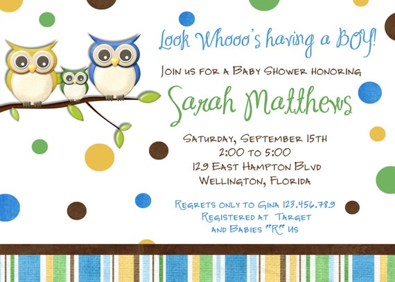 Fall Owl Boy Baby Shower Invitation