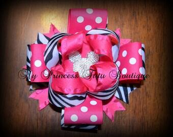 Minnie Mouse Zebra Print Bow