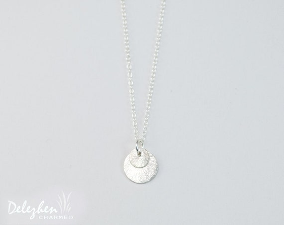 Silver round brushed disc charm necklace - minimalist everyday jewelry - gift for her - bridesmaid necklace