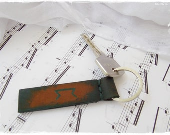 """Personalized Leather Key-Chain, Rustic Runic Leather Key Ring, Celtic Initials Key Fob, Custom Leather Keychain - Perth, Pertho, """"Science"""""""