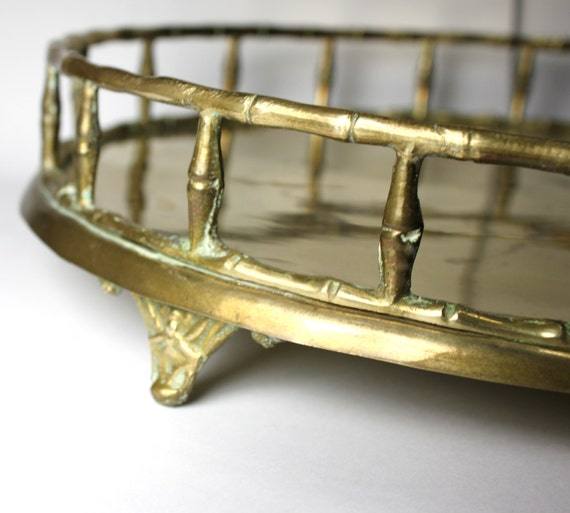 Hollywood Regency Brass Bamboo tray- footed, 11.5 inches wide- A Mottahedeh Design