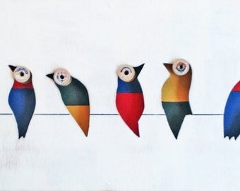 Reclaimed Wood Art - Morella - Birds on Wire