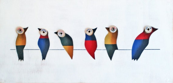 Reclaimed Wood Art - Morella - Birds on Wire