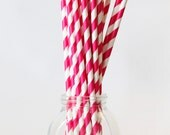Pink and White Paper Straws Fuchsia Party Pink Party Supplies Pink Stripes Drinking Straws Pink Cupcake Birthday Party Straws / Set of 20