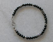 Black Hematite bracelet with sterling accents men or women