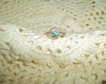 Shiny Blue Rhinestone Gold Filled Ring Size 7