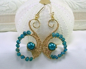 Gold Fill Wire Wrapped Apaite Earrings, teal glass pearls, Pantone Fall color