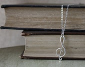 Treble Clef Necklace - Argentium Silver - Treble Clef Pendant - Music Note Pendant - Sterling Silver Jewelry - Music Lover Gift