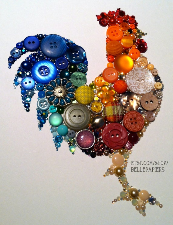 11x14 Kitchen Rooster Kitchen Art Buttons and Swarovski Unique Christmas Gift Unique Hanukkah Gift