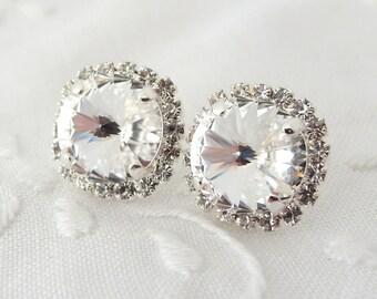 Crystal stud earrings, Bridal earrings, Bridesmaids jewelry, Silver plate crystal stud earrings, Crystal large stud earrings