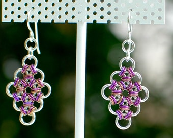 Sterling Silver Micromaille Earrings with Plum Niobium Accents, Artisan Chainmaille, Anniversary Gift - Ready to Ship