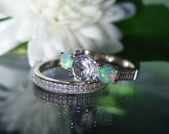 Engagement Ring and Wedding Band Opal Accents