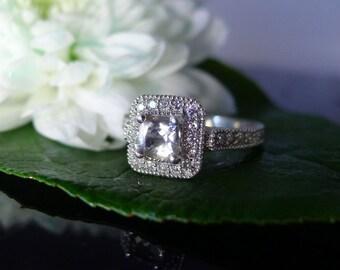 April Birthstone Ring, April Birthday, Herkimer Diamond Ring, Diamond Alternative, Conflict free gemstone, Herkimer Sterling Ring
