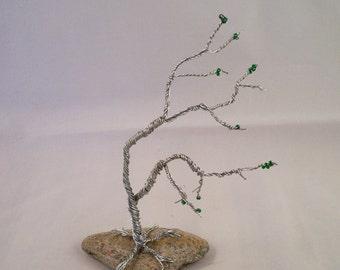 Wind Swept Wire Tree on Rock Base OOAK Beaded Tree of Life