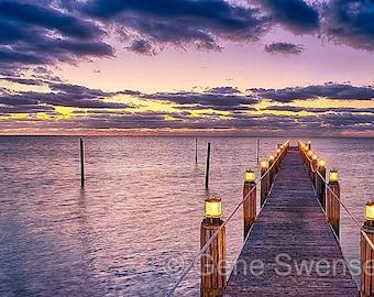 Florida Keys Pier at Sunrise - Available Sizes (5x7) (8x12) (12x18) (16x24) (20x30) (24x36)