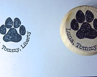 Paw Print Stamp with up to 3 names included for stamping C011