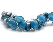 10mm Unicorne Teardrop - Dark Sky Blue Boro Glass - 10 Blue Lampwork Beads