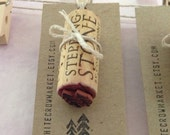 Two Pines Stamp - hand cut rubber stamp - wine cork stamp