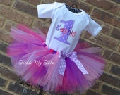 Lilac Polka Dot Number Birthday Tutu Outfit, Pink and Purple Birthday Tutu Set, Pink and Purple Party Outfit