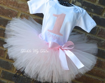 Pretty in Pink Birthday Tutu Outfit-Ballet Party Birthday Tutu Outfit-Ballerina Birthday Party-Pink First Birthday Tutu Outfit