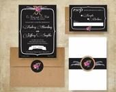 Chalkboard & Floral Rustic Wedding Invitation Suite: 5x7 Invitation, RSVP Card, Envelopes, Seal