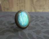 Fire Opal Ring Aqua Turquoise Shimmer Faux Gem Stone Ring Gift Ombre Blue Moon Ring Rustic Vintage inspired Friendship Ring Modern