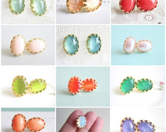 Bridesmaids Earrings Wedding Bridal Earrings Mint Turquoise Coral Pink Peach Green Pearl Studs Set of 3 4 5 6 7 8 9 10 11 12 13 14 15 MS1