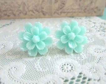 Mint Flower Earrings Turquoise Flower Stud Pastel Seafoam Wedding Aqua Bridesmaids Earrings Bridal Earrings Shabby Chic Simple Dainty Gift