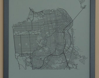 San Francisco City Map Poster - Black and Gray