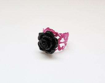 Black Flower Ring with Pink Filigree