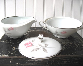 Vintage Noritake Rosemarie cream and sugar grey pink silver rose fine china mid century