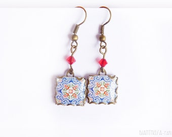 Tile earrings with botanical drawings. Blue, Red and  white Pomegranate blossom motifs Summer earrings