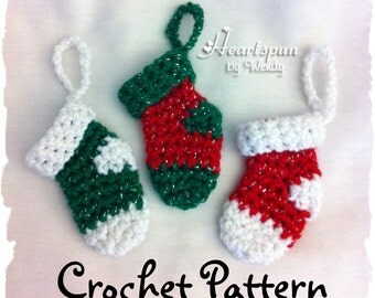 CROCHET PATTERN to make this Mini Christmas Stocking Ornament and Money Holder in two styles, PDF Format
